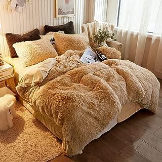 CHENFENG Plush Shaggy Duvet Cover Luxury Ultra Soft Crystal Velvet Bedding Set 1PC(1 Faux Fur Duvet Cover ),Zipper Closure (Queen, Camel)