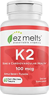 EZ Melts K2 as Menaquinone MK-7, 100 mcg, Sublingual Vitamins, Vegan, Zero Sugar, Natural Apple Flavor, 60 Fast Dissolve Tablets