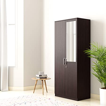 Amazon Brand - Solimo Medusa Engineered Wood Wardrobe With Drawer And Mirror wenge finish , 2 Doors