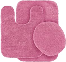 Mk Home Collection 3 Piece Bathroom Rug Set Bath Rug, Contour Mat & Lid Cover Non-Slip with Rubber Backing Solid Hot Pink New