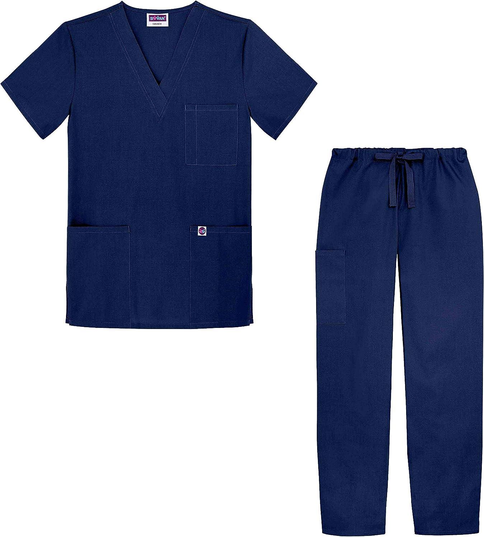Sivvan Uniforme m/édico Casaca Cuello en V Pantalones con cord/ón