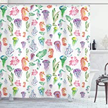 Jellyfish Decor Shower Curtain by Ambesonne, Pattern with Colorful Seahorses, Jellyfish and Seaweed Algae Fun Cheerful Design, Polyester Fabric Bathroom Set with Hooks, 75 Inches Long, Multicolor