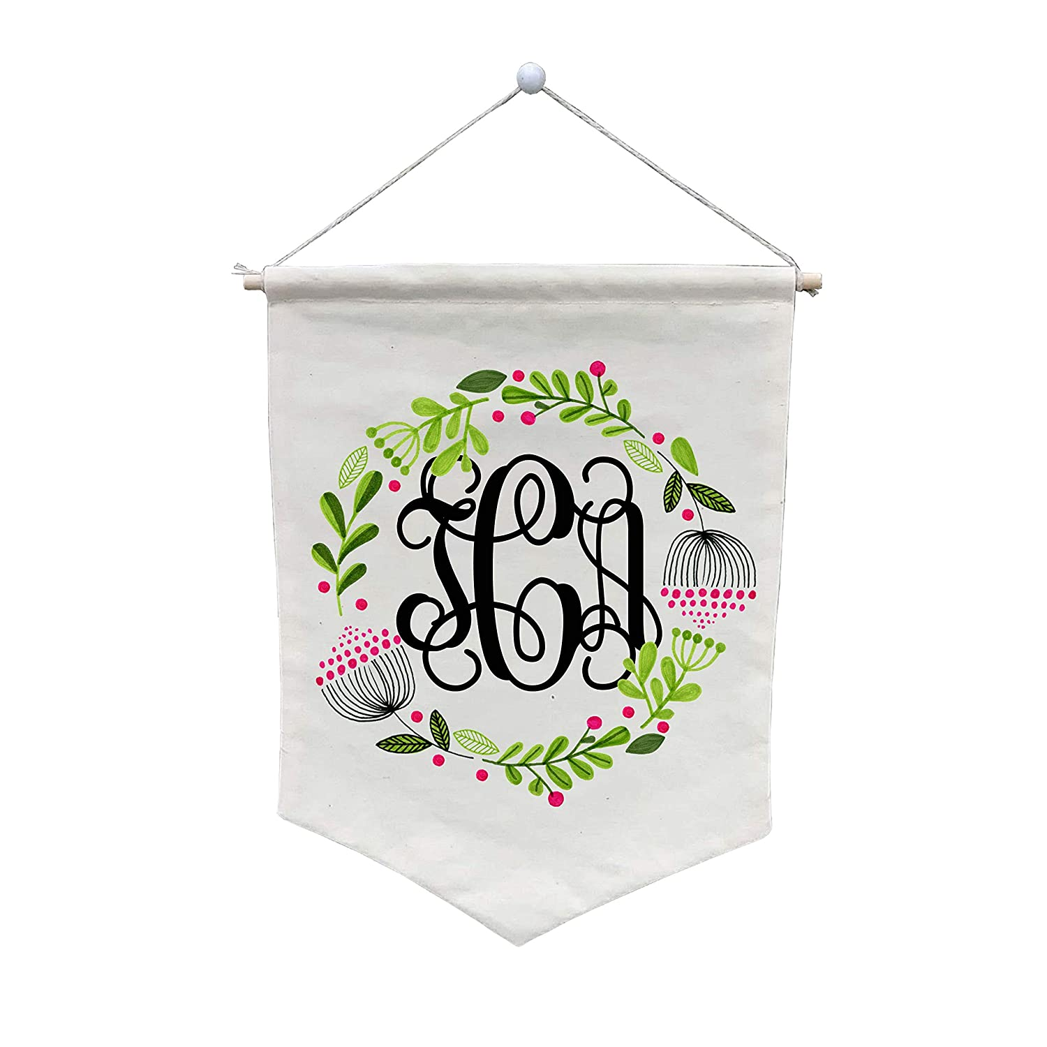 Floral Wreath Regular store Bouquet Monogram Wall Banner WB246 - Customize High quality new