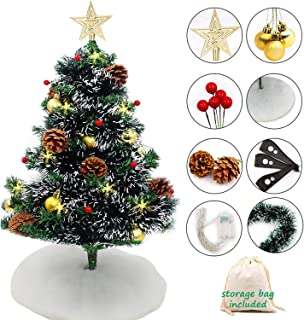 FunXi 24 inch Tabletop Artificial Christmas Tree with 20 Clear Lights and Decoration (Storage Bag Included)