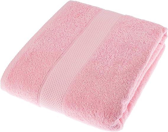 Pur Coton Peign/é Ultra Doux Couleur Peche de pour Les Mains 90 x 50cm HOMESCAPES Serviette de Toilette Eponge Saumon uni 500gm/²