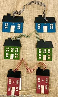 3 Primitive Saltbox House Tin Ornies Doubles Red Blue Green Gingham Ribbon Country