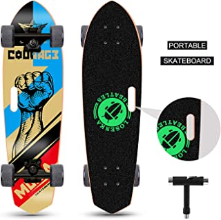 LOSENKA 28 inch Mini Cruiser Skateboard Cruiser | Canadian Maple Deck - Designed for Kids, Teens and Adults