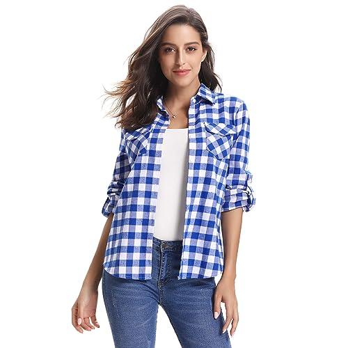 a96bf2be7a8 Abollria Women s Roll up Long Sleeve Boyfriend Button Down Plaid Flannel  Shirt (S-XXL