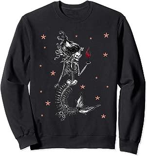 Mermaid Skeleton Sugar Skull Funny Halloween Costume Party Sweatshirt