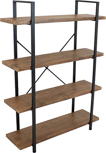 new arrival Sunnydaze 4-Tier Bookshelf - Industrial Style with Freestanding Open Shelves with high quality Veneer Finish - Holds Books, Media, Storage Cubes, DVDs and More popular - North American Teak outlet online sale