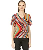 Paul Smith - Silk Deep Cut Stripe Top
