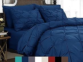 Elegant Comfort Juego de Funda de edredón de Microfibra, Lujoso e hipoalergénico Pintuck Décor, Azul Marino (Old Navy), Completa/Queen, 1