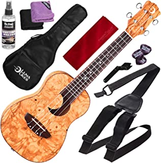 Luna Ukulele Crescent Olive Ash Burl Concert with Ukulele Strap and Bundle