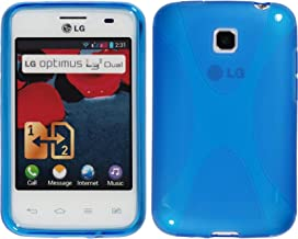 PhoneNatic Silicone Case Compatible with LG Optimus L3 II Dual - X-Style Blue Cover + Protective foils
