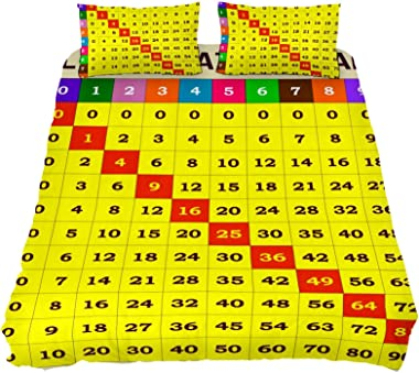 Duvet Cover Extra Long Twin Size, Multiplication Table Template for Students Illustration 3 Piece Comforter Cover ¨C Ultra So
