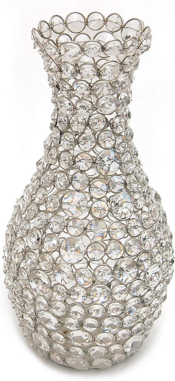 Esca di Luce Genuine Crystal Flower Vase for Flowers, Decorative Centerpiece (Silver Round)