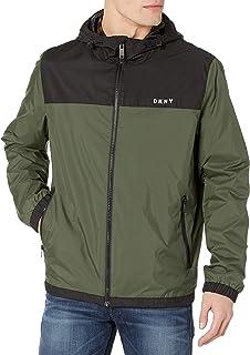 DKNY mens Mixed Media Hooded Rain Slicker Rain Jacket
