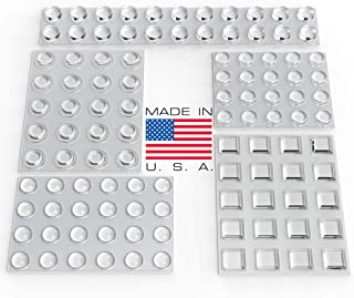 Clear Adhesive Bumper Pads 106-PC Combo Pack (Round, Spherical, Square) - Sound Dampening Transparent Rubber Feet for Cabinet Doors, Drawers, Glass Tops, Picture Frames, Cutting Boards