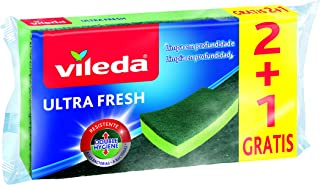 Vileda Estropajo Ultrafresh 2 + 1, Acero Inoxidable, Verde