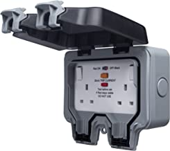 BG Electrical WP22RCD double socket with switch and RCD fuse, latch function, for outdoor use, weatherproof, 13 A, IP66