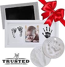 Newborn Baby Clean Touch Non-Toxic Ink Pad Handprint & Footprint Photo Frame Kit Unique Baby Shower Gift Set Bonus Premium Keepsake Clay Ornament Kit