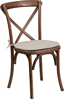 Flash Furniture HERCULES Series Stackable Pecan Wood Cross Back Chair with Cushion