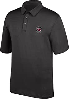 J America NCAA Men's South Carolina Fighting Gamecocks Yarn Dye Striped Team Polo Shirt, Large, Black