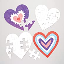 Baker Ross Heart Color-in Jigsaw Puzzles (Pack of 10) for Kids to Decorate, Personalize and Gift for Mother's Day / Valentine's Day