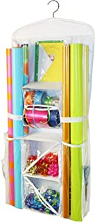Gift Wrap Organizer - Storage for Wrapping Paper (All Sized Rolls), Gift Bags, Bows, Ribbon and More - Organize Your Closet with this Hanging Bag & Box to Have Organization, Clear Pockets & Hook Hangs