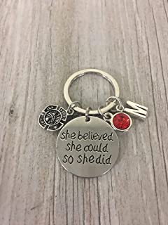Personalized Firefighter Keychain, She Believed She Could Jewelry Gift for Firefighters, Firefighter Wife, Girlfriend, Mom, Daughter - Firefighter Jewelry