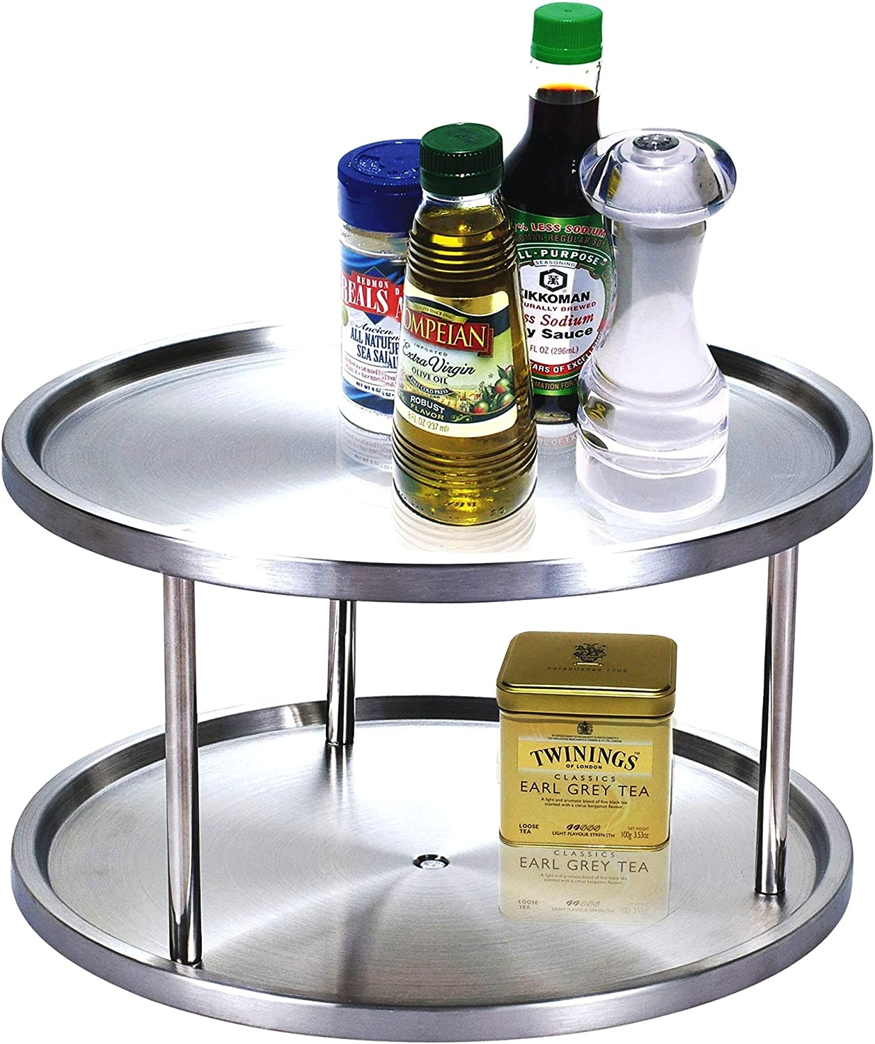 Stainless Steel Canned Foods Pans Refrigerator or on Counters RSVP International Endurance TURN-1 Turntable Lazy Susan 10.5 Dinnerware 10.5 Inch Handy in Cabinet Pots Organize Spices