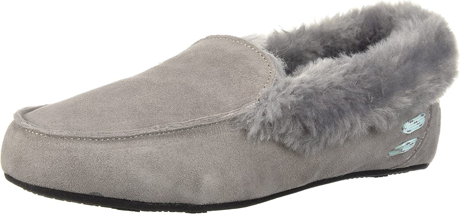 Dearfoams Women's Suede Moccasin Slipper - Indoor/Outdoor Padded Slippers with Memory Foam Cushioning and Warm faux shearling Wool Lining