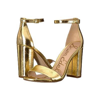 Sam Edelman Yaro Ankle Strap Sandal Heel (Bright Gold Distressed Metallic Leather) Women