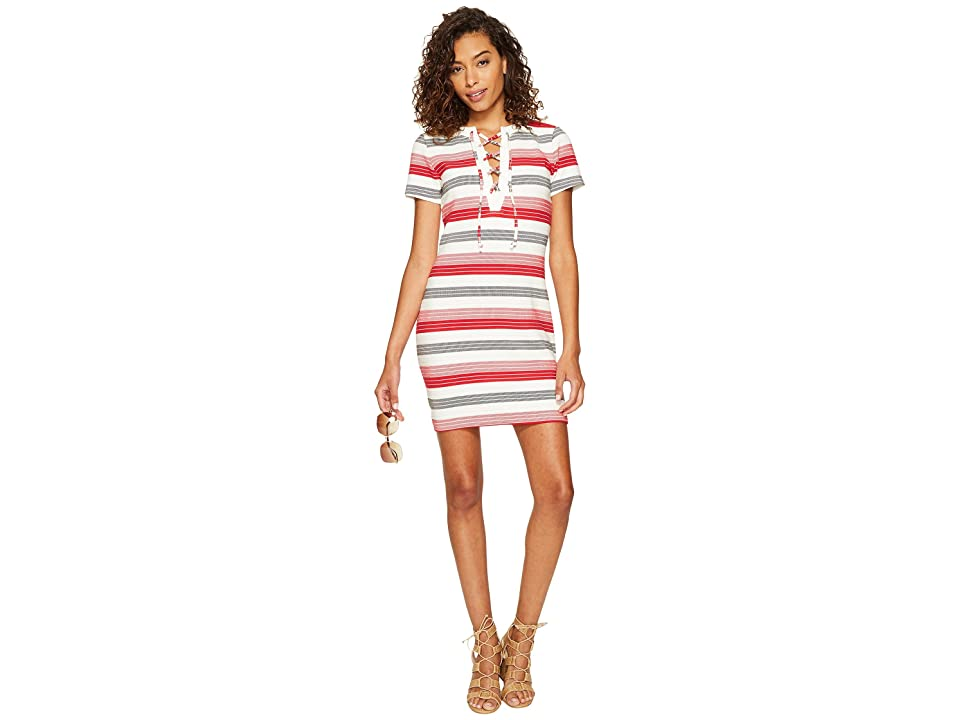 Jack by BB Dakota Lijah Stripe Knit + Rib Trim Dress (Ivory) Women