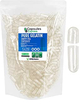 Capsules Express- Size 000 Clear Empty Gelatin Capsules 1000 Count - Kosher and Halal - Pure Gelatin Pill Capsule - DIY Po...