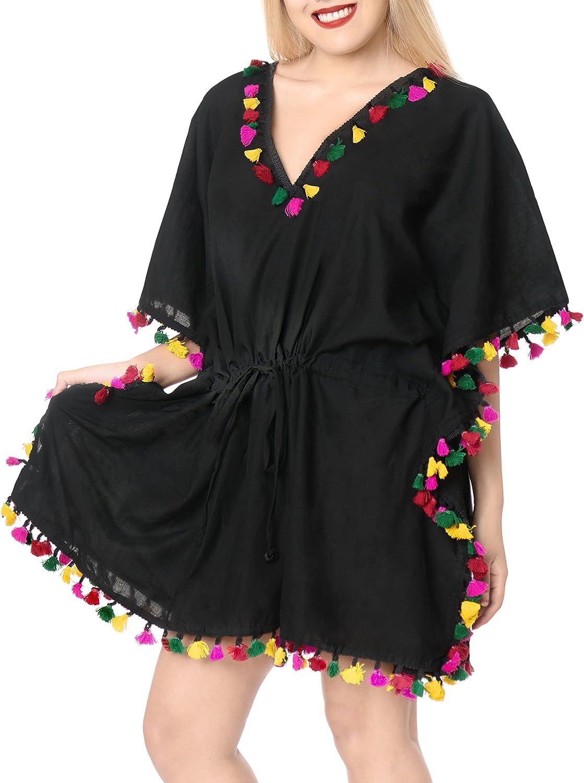 LA LEELA Women's Mini Bikini Swimsuit Cover Up for Swimwear Kaftan Solid Plain