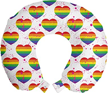 Ambesonne Pride Day Travel Pillow Neck Rest, LGBT Rainbow Hearts Valentines Watercolor Splashes Pattern, Memory Foam Travelin