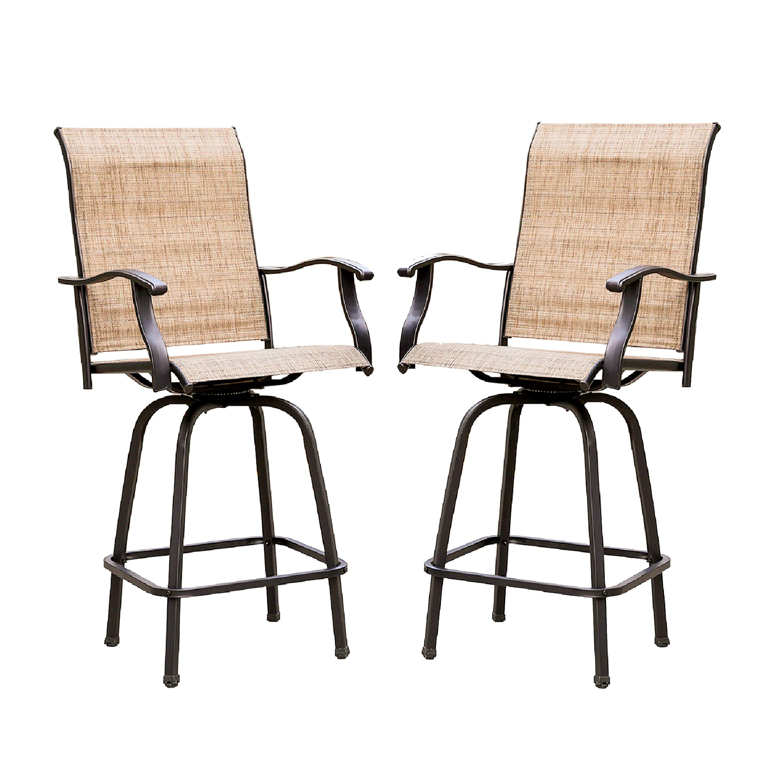 Fine Lokatse Home 2 Piece Swivel Bar Stools Outdoor High Patio Furniture With All Weather Metal Frame 2 Chairs Andrewgaddart Wooden Chair Designs For Living Room Andrewgaddartcom
