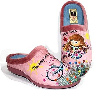 Zapatillas Rosas Estar por casa cómoda Mujer. Frase Bonita y Positiva