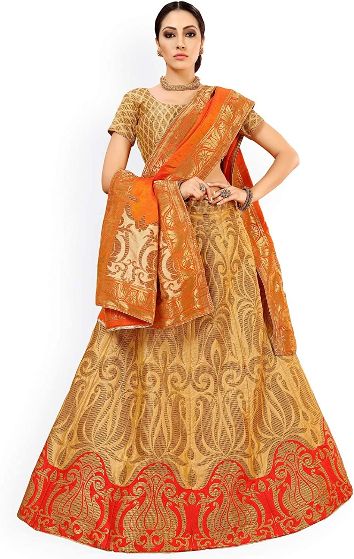 Generic WOMN goldToned & orange Embellished SemiStitched Lehenga & Unstitched Blouse with Dupatta