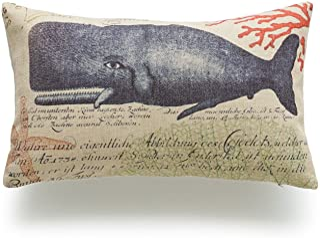 "Hofdeco Decorative Lumbar Pillow Cover Heavy Weight Cotton Linen Vintage Caribbean Sea Life Nautical Whale 12""x20"" 30cm x ..."