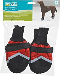 Guardian Gear Fleece-Lined Boots for Dogs, Medium, Red