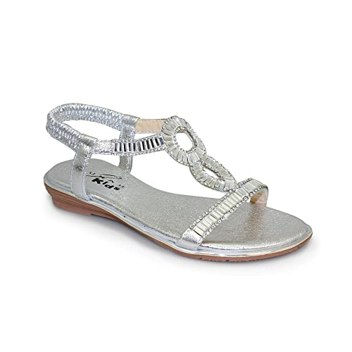 3a8e0b0c519b Lunar Girls Samantha Jewelled Sparkle Flat Low Wedge Sandal in Silver Size  10