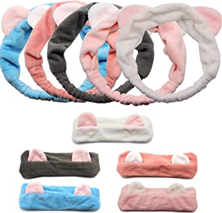 Dofash 5Pcs Elastic Microfiber Cute Cat Ear Headbands Animal Comfortable Bath Hair Bands for Washing Face, Makeup Cosmetic Beauty Hairband for Women Girls (Mixed Colors)