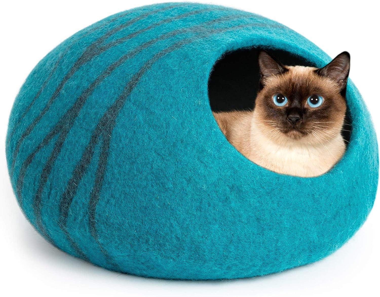 MEOWFIA Premium Felt Cat Bed Cave (Medium) - Handmade 100% Merino Wool Bed for Cats and Kittens (Slate Grey/Medium)