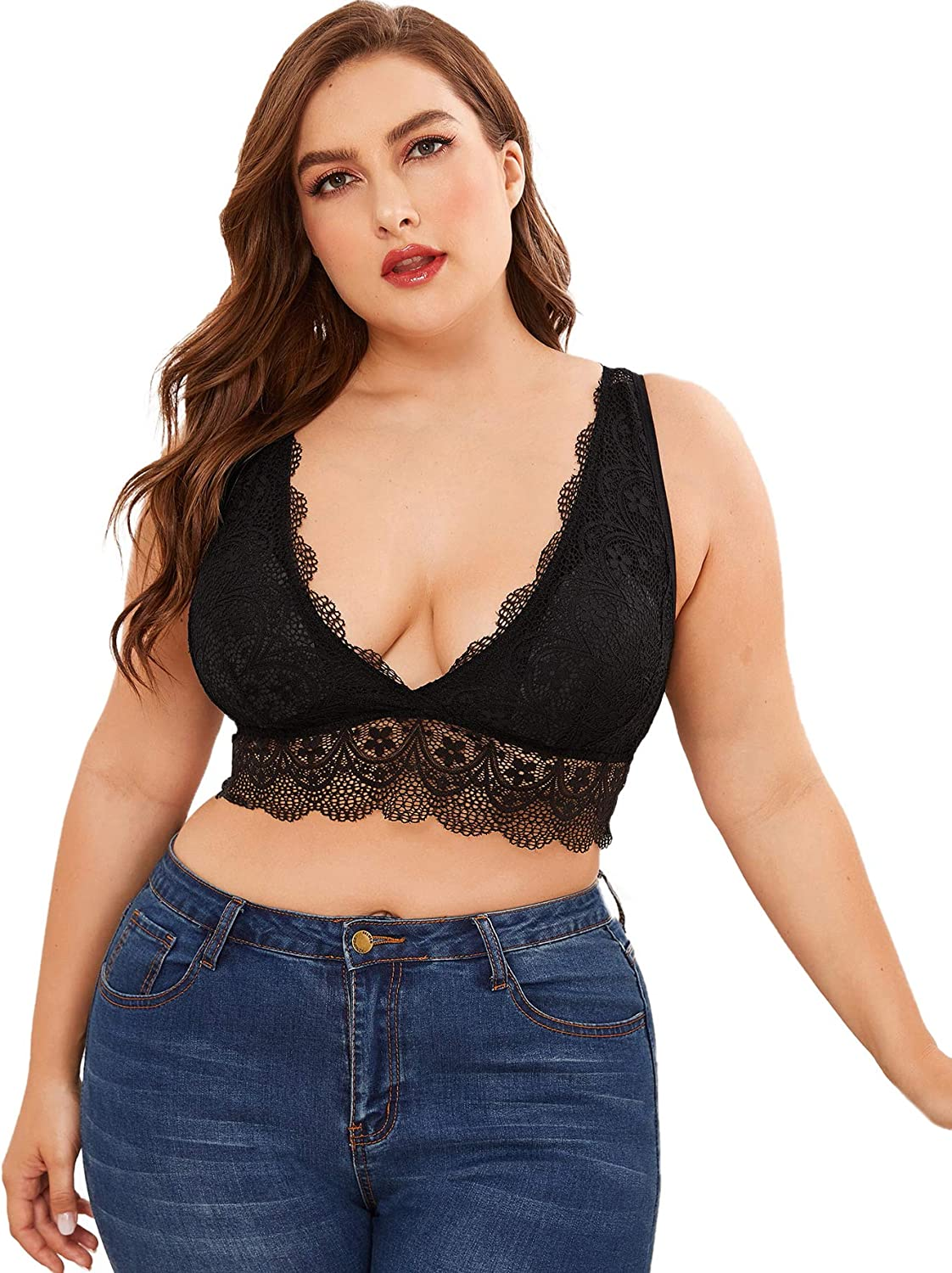 SOLY HUX Women's Plus Size Sexy Sheer Lace Strappy Bralette Bra Lingerie
