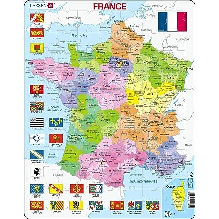 Larsen A5 France Carte Politique, édition Français, Puzzle Cadre avec de 70 pièces