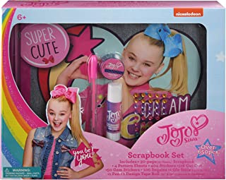 Jojo Siwa Scrapbook Set Includes Scrapbook, Pattern Sheets, Stickers, Cut Outs, Gem Stickers, Sequins, Glue Stick, Pen, Design Tape Roll Fun Decorating Activity Kit - Jo Jo Craft Signature Collection
