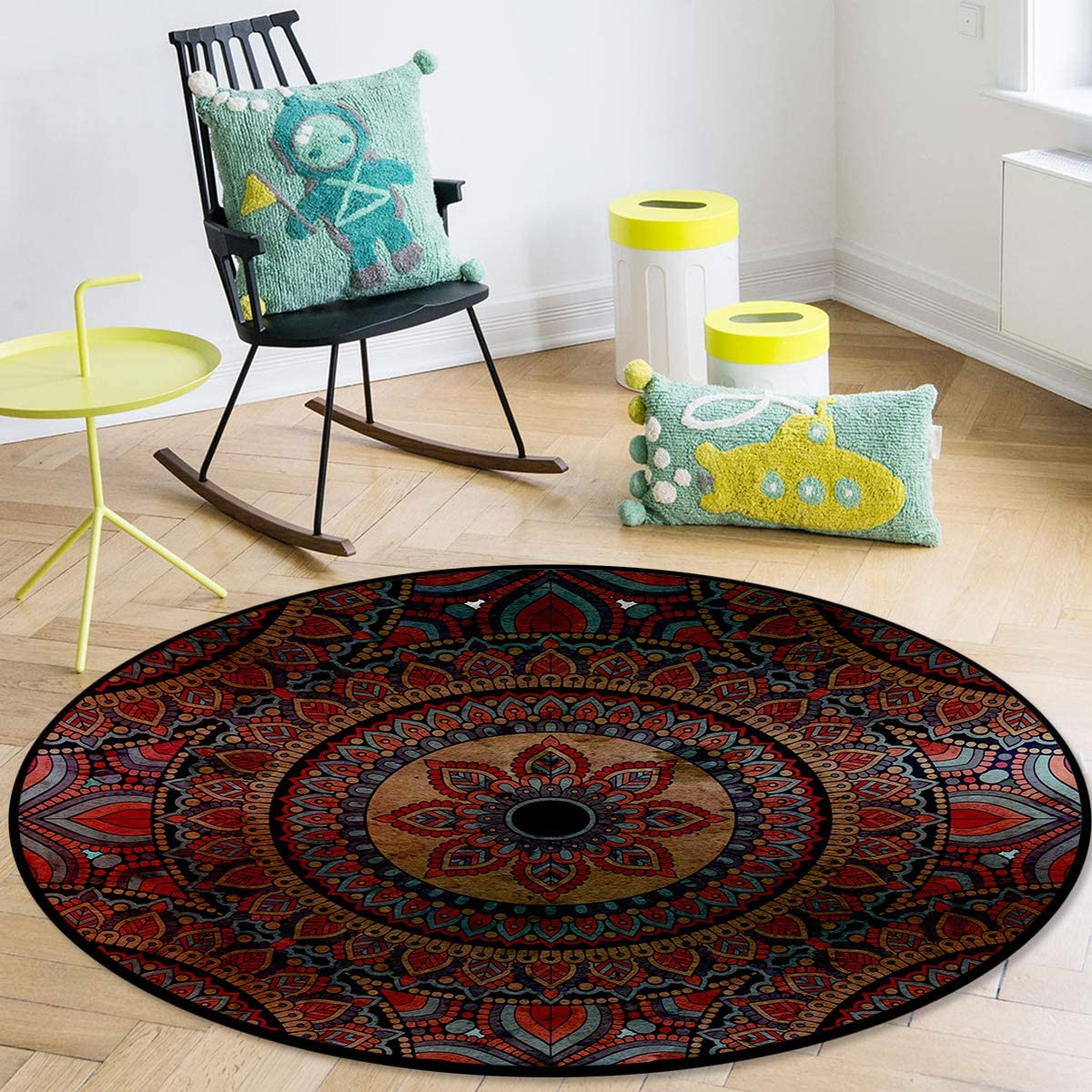 OneHoney Round Area security Indianapolis Mall Rugs Ancient Ethnic Pattern Indoor Vintage