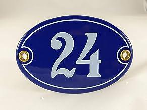 Emaille huisnummerbordje nr. 24, ovaal, blauw-wit Nr. 24 Blau-Weiß + Schrauben und Dübel
